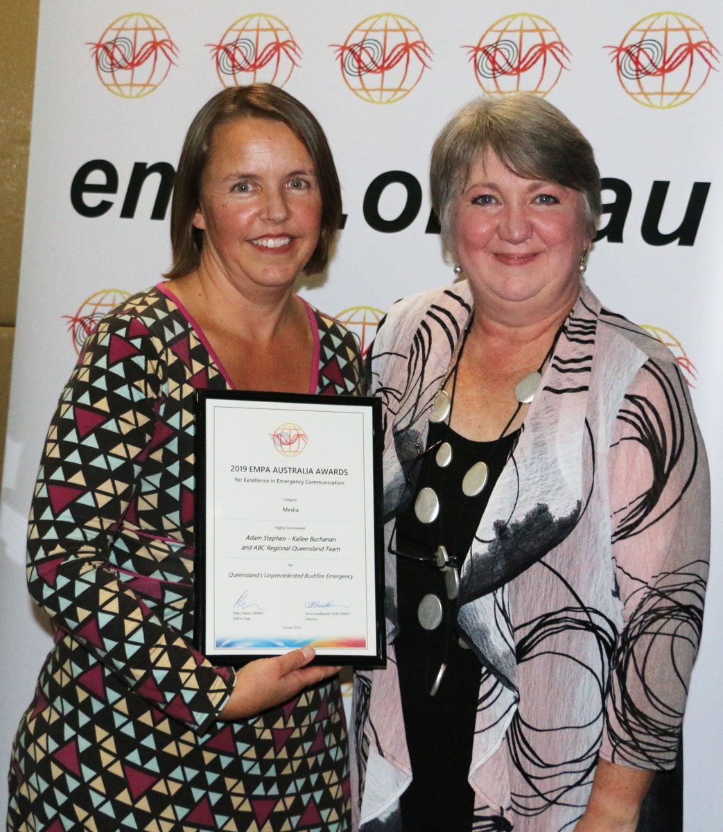 Sascha Rundle, ABC Manager of Emergency Broadcasting, with Anne Leadbeater