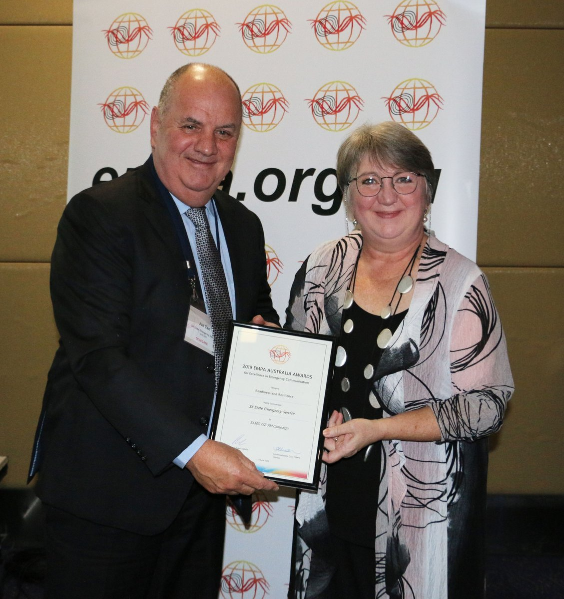 John Carr from SA SES with Anne Leadbeater